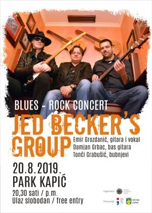 Blues-rock atrakcija JED BECKER'S GROUP u parku Kapić u Loparu / (uto.) 20.8.2019. u 20,30h